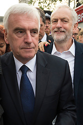 © Licensed to London News Pictures. 27/06/2016. British Labour party leader JEREMY CORBYN and Shadow Chancellor of the Exchequer JOHN MCDONNELL attend at rally in Parliament Square organised by the Momemtum organisation to keep him as Labour party leader after the EU Referendum. Photo credit: London News Pictures