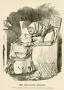 'Mr Punch suffering in the Flu epidemic in Britain in 1847. John Leech Cartoon from ''Punch'', London, 1847.'