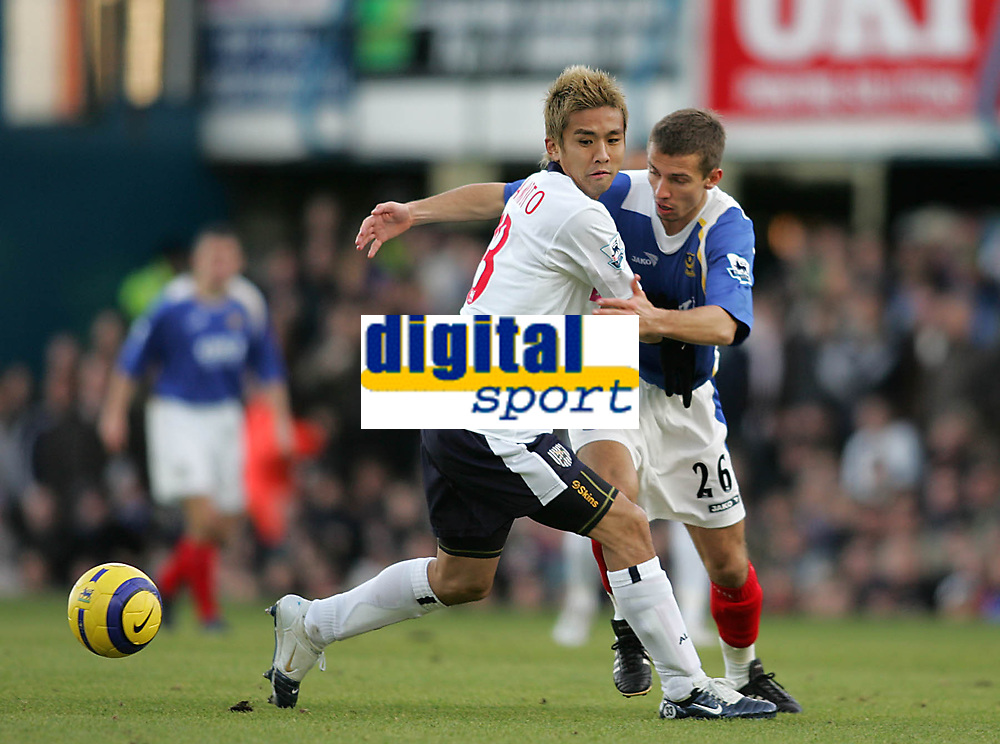 Photo: Lee Earle.<br /> Portsmouth v West Bromwich Albion. The Barclays Premiership. 17/12/2005. West Brom's Junichi Inamoto (L) battles with Gary O'Neil.