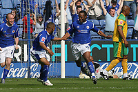 Photo: Pete Lorence.<br />Leicester City v Norwich City. Coca Cola Championship. 14/04/2007.<br />Darren Kenton celebrates taking Leicester into an early lead.