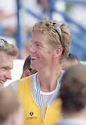 St Catherines, CANADA,  Men's Pair  AUS M2- James TOMKINS, awards Dock Gold Medalist, the 1999 World Rowing Championships - Martindale Pond, Ontario. 08.1999..[Mandatory Credit; Peter Spurrier/Intersport-images]  .. 1999 FISA. World Rowing Championships, St Catherines, CANADA