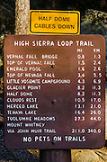 High Sierra Loop Trail sign at Happy Isles, Yosemite National Park, California USA