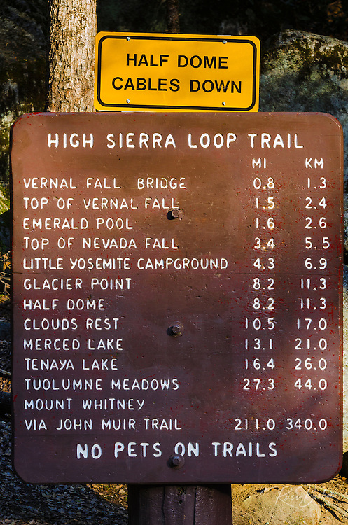 High Sierra Loop Trail sign at Happy Isles, Yosemite National Park, California USA