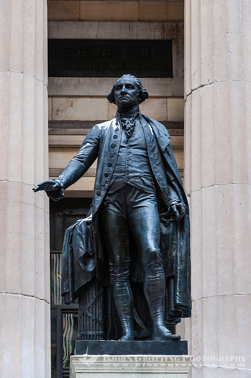 US, New York City. Federal Hall National Monument on Wall Street.  Statue of George Washington.