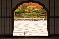 """Ginkaku-ji the """"Temple of the Silver Pavilion"""" is a Zen temple in Kyoto. Its architecture and design represents the Higashiyama Culture of Muromachi period.  The official name is Jisho-ji or """"Temple of Shining Mercy.""""  Its is called by its popular name """"Silver Pavilion"""" because of initial plans to cover its exterior in silver foil which never happened."""