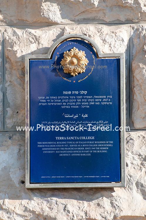Terra Sancta College located at Paris Square, Jerusalem, Israel. The complex was built in 1926, with the design of the Italian architect Antonio Barluzzi