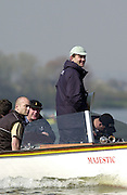 Peter Spurrier Sports  Photo<br />email pictures@rowingpics.com<br />Tel 44 (0) 7973 819 551<br /><br />Photo Peter Spurrier<br />28/03/2002<br />2002 Varsity Boat Race-Tideway week<br />Thur second training session<br />2002 Boat Race umpire - Simon Harris 20020327 University Boat Race, [Varsity],  Tideway Week. Putney. London