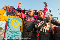 On the winners podium, former AMA Grand National race winner Willie McCoy (Left) in second place, Hunter Klee (center) in first place and Aaron Guardado in third place on the winners podium after the Hooligan racing at the 2016 ROT (Republic of Texas Rally). Austin, TX, USA. June 11, 2016.  Photography ©2016 Michael Lichter.