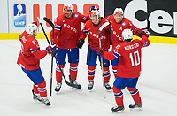 Ishockey<br /> VM 2015<br /> Slovenia v Norge<br /> 08.05.2015<br /> Foto: imago/Digitalsport<br /> NORWAY ONLY<br /> <br /> im Bild Jonas Holøs of Norway, Andreas Martinsen of Norway, Mathis Olimb of Norway, Patrick Thoresen of Norway and Mattias Nørstebø of Norway celebrate after scoring first goal for Norway // during the IIHF Icehockey World Championships Groupstage Match between Slovenia and Norway at the CEZ Arena in Ostrava, Czech Republic on 2015/05/08