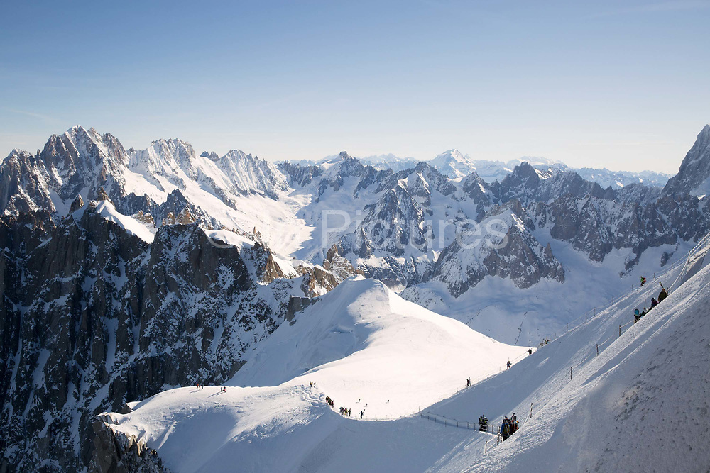 The Aiguille du Midi at 3800m looking down the Vallée Blanche in Chamonix, France on 20th March 2017