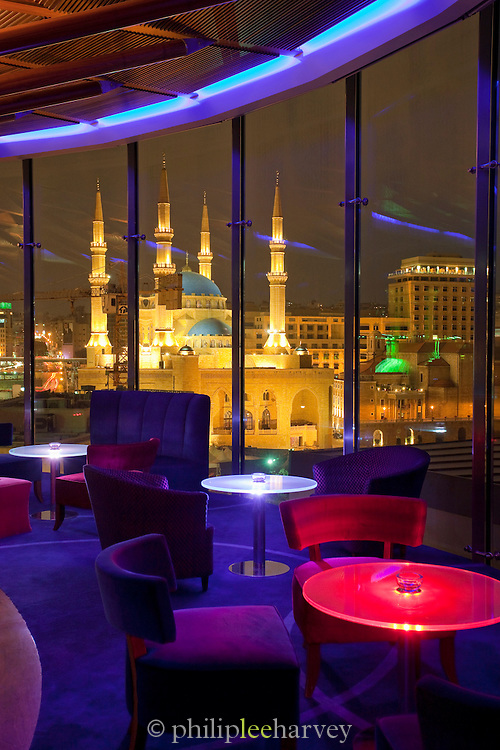 View from a panoramic bar of the Le Gray hotel showing the illuminated Mohammad Al-Amin Mosque at Martyrs Square in Beirut, Lebanon