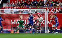 Football - 2021 / 2022 Pre-Season Friendly - Manchester United vs Everton - Old Trafford - Saturday 7th August 2021<br /> <br /> Harry Maguire of Manchester United puts in a header from a United corner, at Old Trafford.<br /> <br /> COLORSPORT/ALAN MARTIN