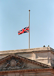 The Union Jack at Buckingham Palace flies at half mast for the first time in history for the funeral of Diana, Princess of Wales this morning (Saturday).