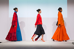 © Licensed to London News Pictures. 01/06/2015. London, UK. Collection by Josh Read. Fashion show of Kingston University at Graduate Fashion Week 2015. Graduate Fashion Week takes place from 30 May to 2 June 2015 at the Old Truman Brewery, Brick Lane. Photo credit : Bettina Strenske/LNP
