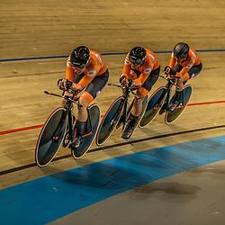 APELDOORN (NED) EUROPEAN TRACK CHAMPIONSHIPS, 19th August<br /> Team Pursuit first round<br /> Team Time Trail <br /> Netherlands: Amber van der Hulst, Lonneke Uneken, Marit Raaijmakers, Mylene de Zoete<br /> Will ride for bronze