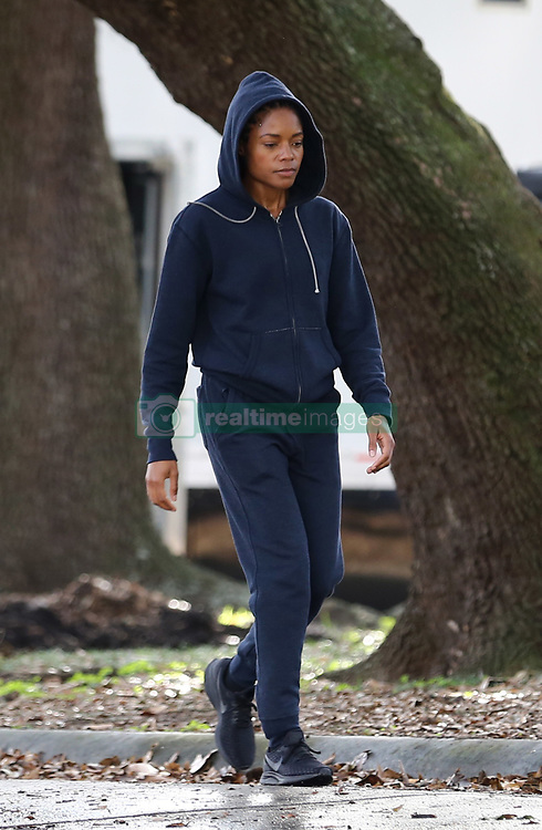 """EXCLUSIVE: **First on Set Photos** """"Moonlight"""" actress Naomie Harris does some jogging in the park in the first on set photos of her new movie """"Black and Blue"""" which is currently filming in New Orleans, Louisiana. Harris plays a rookie Detroit African-American female cop who stumbles upon corrupt officers who are murdering a drug dealer, an incident captured by her body cam. They pursue her through the night in an attempt to destroy the footage, but to make matters worse, they've tipped off a criminal gang that she's responsible for the dealer's death. Tyrese Gibson and Frank Grillo will also costar in this Action movie. Naomie was seen with little makeup and was wearing a navy blue jogging suit and black Nike tennis shoes. 23 Jan 2019 Pictured: Naomie Harris. Photo credit: MEGA TheMegaAgency.com +1 888 505 6342"""