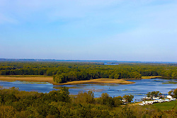 October 2009: View of the  Mississippi River and Buffalo Lake from an outlook in the Mississippi Palisades State Park. Sights to see in and around Galena Illinois. This image was produced in part utilizing High Dynamic Range (HDR) or panoramic stitching or other computer software manipulation processes. It should not be used editorially without being listed as an illustration or with a disclaimer. It may or may not be an accurate representation of the scene as originally photographed and the finished image is the creation of the photographer.