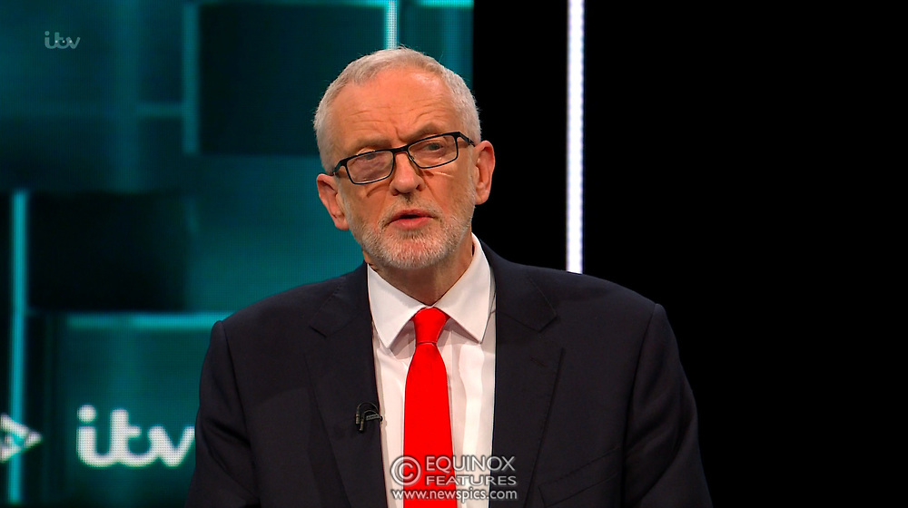 Broadcast TV, United Kingdom - 19 November 2019<br /> Labour leader Jeremy Corbyn and Prime Minister Boris Johnson debate live on ITV tonight as part of the 2019 general election campaign.<br /> (supplied by: Supplied by: EQUINOXFEATURES.COM)<br /> Picture Data:<br /> Contact: Equinox Features<br /> Date Taken: 20191119<br /> Time Taken: 212747<br /> www.newspics.com