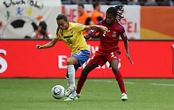 06.07.2011, Commerzbank-Arena, Frankfurt, GER, FIFA Women Worldcup 2011, Gruppe D, Äquatorial-Guinea (EQG) vs. Brasilien (BRA) ,. im Bild Bruna (EQG) gegen Marta (BRA) . // during the FIFA Women´s Worldcup 2011, Pool D, Equatorial Guinea vs Brazil on 2011/07/06, Commerzbank-Arena, Frankfurt, Germany. EXPA Pictures © 2011, PhotoCredit: EXPA/ nph/  Karina Hessland       ****** out of GER / CRO  / BEL ******