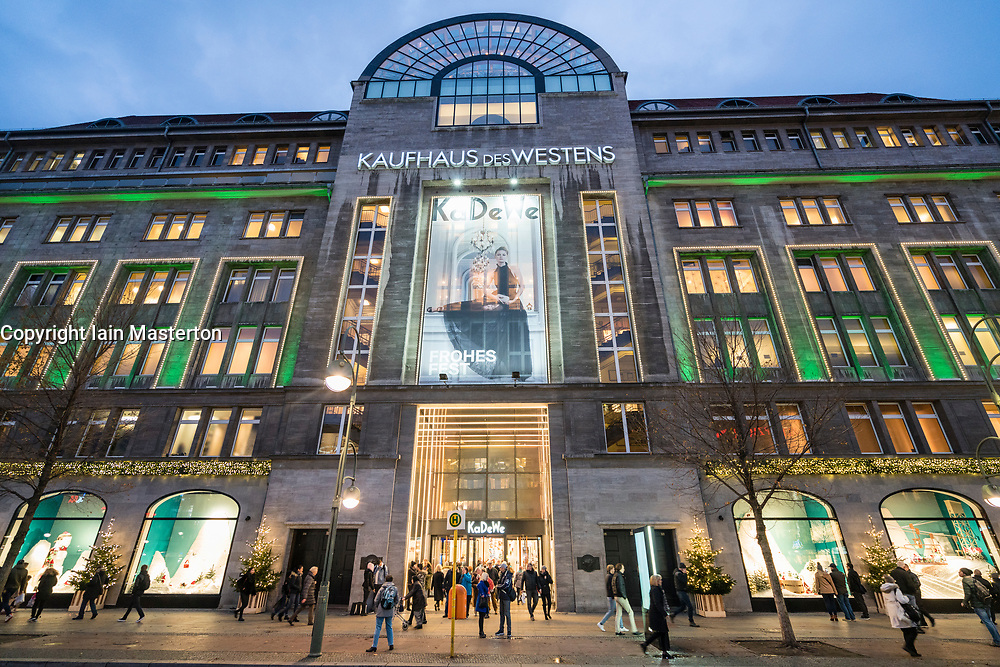 View of famous department store Kaufhaus des Westens or KaDeWe at Christmas on famous shopping street Tauenzienstrasse ,  in Berlin, Germany.
