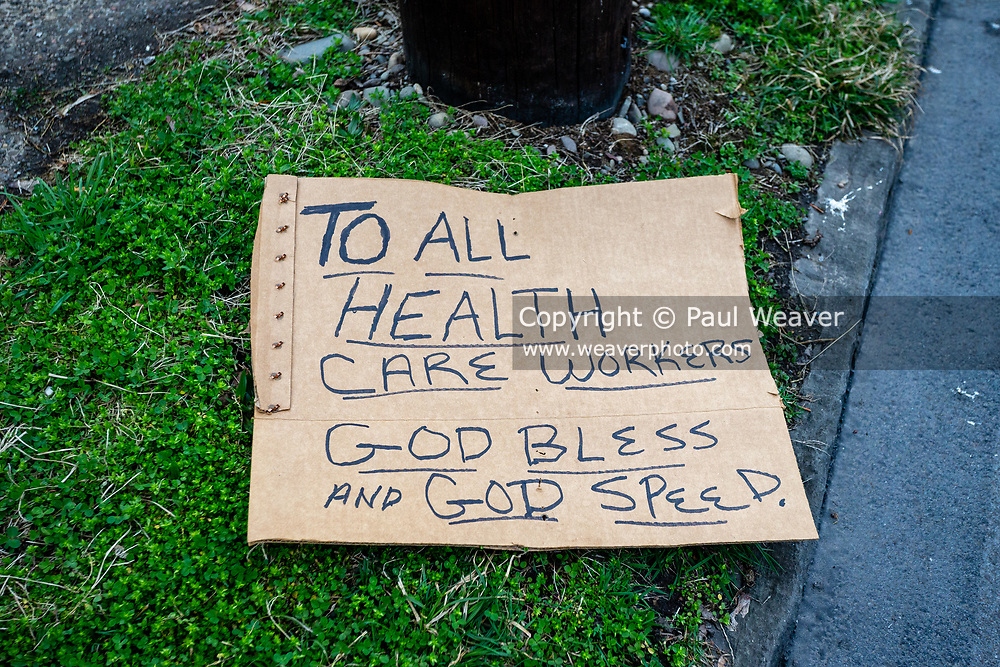 March 30, 2020 -- A sign on the ground expresses appreciation to healthcare workers.