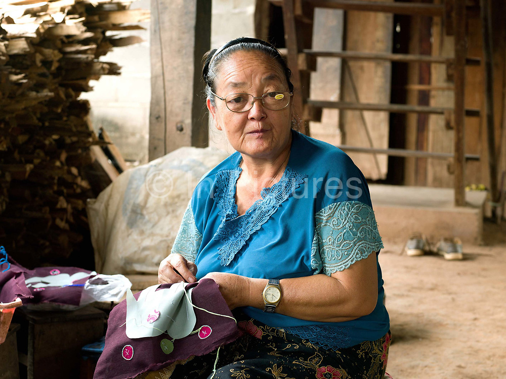 Na Kia, an elderly Hmong women from Ban Kok Wa village makes a bag with an elephant design to sell at the Luang Prabang night market, Lao PDR. The Hmong have recently settled in the town of Luang Prabang - a consequence of the government's efforts to suppress both the cultivation of opium poppies and slash and burn agriculture, which they have traditionally practiced, and of their own desire to take advantage of the expansion of tourism, which provides an important outlet for their crafts. Using their skilful embroidering and combining the sophisticated, colourful motifs that have traditionally adorned their clothing they have created aprons, tablecloths, cushion and bed covers, slippers and more which they sell to tourists at the Luang Prabang night market.