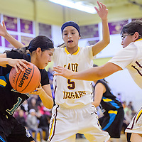 012215       Cable Hoover<br /> <br /> Navajo Prep Eagle Jazmine Benally (14) attempts to maneuver past Tohatchi Cougars Kalian Mitchell (5) and Shawntaya Murphy (32) Thursday at Tohatchi High School.