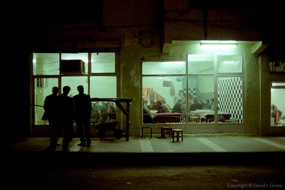 At night, in many towns all over Turkey, the men sit and gamble and smoke in tea houses like this one in the eastern city of Diyarbakir.