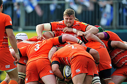 Ed Slater of Leicester Tigers in action at a maul - Photo mandatory by-line: Patrick Khachfe/JMP - Mobile: 07966 386802 23/05/2015 - SPORT - RUGBY UNION - Bath - The Recreation Ground - Bath Rugby v Leicester Tigers - Aviva Premiership Semi-Final