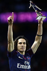January 27, 2018 - Paris, Ile-de-France, France - Edinson Cavani of PSG receives a trophy of himself by President of PSG Nasser Al Khelaifi for scoring his 157th goal, beating Zlatan Ibrahimovic's record of goals for PSG following the French Ligue 1 match between Paris Saint Germain (PSG) and Montpellier Herault SC (MHSC) at Parc des Princes on January 27, 2018 in Paris, France. (Credit Image: © Mehdi Taamallah/NurPhoto via ZUMA Press)