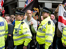 May 6, 2017 - London, London, United Kingdom - Image ©Licensed to i-Images Picture Agency. 06/05/2017. London, United Kingdom. Far-Right and Counter-Protest in Croydon. ..Anti-Fascist protesters clash with police outside Lunar House, the Home Office's Immigration department, at a far-right anti-immigration protest in London's Croydon. ..Picture by Pete Maclaine / i-Images (Credit Image: © Pete Maclaine/i-Images via ZUMA Press)