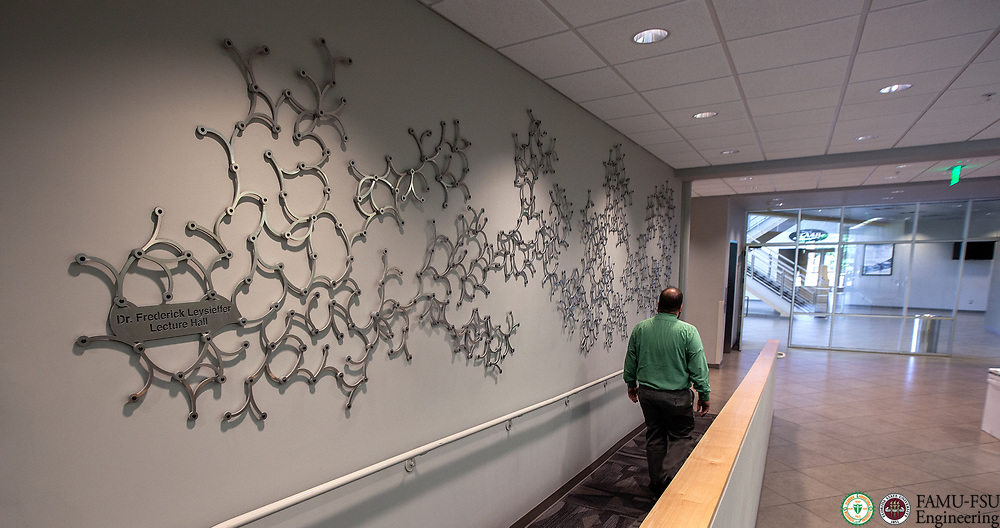 """Art installation, """"Branches"""" by Windham Graves, located near the Dr. Frederic Levisetter Lecture Hall in AME Building at the Aero-Propulsion, Mechatronics and Energy Build (AME) at the FAMU-FSU College of Engineering in Tallahassee."""