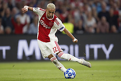 Hakim Ziyech of Ajax during the UEFA Champions League play offs round first leg match between Ajax Amsterdam and Dynamo Kyiv at the Johan Cruijff Arena on August 22, 2018 in Amsterdam, The Netherlands