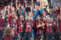 December 8, 2018 - Atlanta, Georgia, United States - Atlanta United midfielder MIGUEL ALMIRON (10) lifts the MLS Cup with teammates at Mercedes-Benz Stadium in Atlanta, Georgia.  Atlanta United defeats Portland Timbers 2-0 (Credit Image: © Mark Smith/ZUMA Wire)