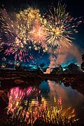 Saffron Fields Pre-Independece Day fireworks show, Yamhill-Carlton AVA, Willamette Valley, Oregon