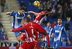 December 22, 2017 - Barcelona, Spain - Thomas Partey and Aaron during the La Liga match between RCD Espanyol and Atletico de Madrid, in Barcelona, on December 22, 2017. Photo: Joan Valls/Urbanandsport/Nurphoto  (Credit Image: © Joan Valls/NurPhoto via ZUMA Press)