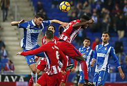 December 22, 2017 - Barcelona, Spain - Thomas Partey and Aaron during the La Liga match between RCD Espanyol and Atletico de Madrid, in Barcelona, on December 22, 2017. Photo: Joan Valls/Urbanandsport/Nurphoto  (Credit Image: © Joan Valls/NurPhoto via ZUMA Press)
