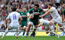 Leicester Tigers prop Logovi'i Mulipola goes on the charge - Photo mandatory by-line: Patrick Khachfe/JMP - Tel: Mobile: 07966 386802 - 08/09/2013 - SPORT - RUGBY UNION - Welford Road Stadium - Leicester Tigers v Worcester Warriors - Aviva Premiership.