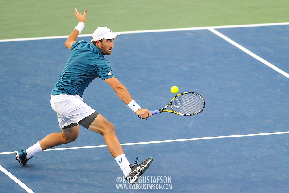 STEVE JOHNSON of the United States plays against John Isner of the United States  at Day 6 of the Citi Open at the Rock Creek Tennis Center in Washington, D.C. Johnson lost in 3 sets.