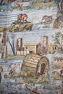 Detail picture of a houses by the flooded Nile  from the famous Hellenistic Roman Nilotic landscape Palestrina Mosaic or Nile mosaic of Palestrina 1st or 2nd century BC. Museo Archeologico Nazionale di Palestrina Prenestino  (Palestrina Archaeological Museum), Palestrina, Italy. .<br /> <br /> If you prefer to buy from our ALAMY PHOTO LIBRARY  Collection visit : https://www.alamy.com/portfolio/paul-williams-funkystock/roman-mosaic.html - Type -   Palestrina   - into the LOWER SEARCH WITHIN GALLERY box. Refine search by adding background colour, place, museum etc<br /> <br /> Visit our ROMAN MOSAIC PHOTO COLLECTIONS for more photos to download  as wall art prints https://funkystock.photoshelter.com/gallery-collection/Roman-Mosaics-Art-Pictures-Images/C0000LcfNel7FpLI