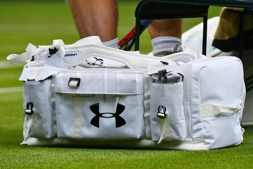 © Licensed to London News Pictures. 28/06/2016. Close-up of ANDREW MURRAY'S kit bag by company UNDER ARMOUR as he plays a first round match against LIAM BRODY on the second day of the WIMBLEDON Lawn Tennis Championships in London, UK. Photo credit: Ray Tang/LNP