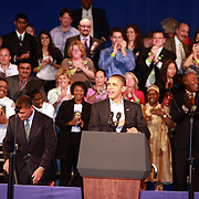 The President USA, Barck Obama, smiles while delivery a powerfull and moving speech in Boston