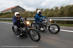 Kazushige Roppongi (L) riding his 1981 Harley-Davidson Shovelhead with Toshihiro Ogasawara riding his Sureshot custom 1942 Harley-Davidson FL Knucklehead on the SureShot ride around Chiba, Japan. Saturday, December 8, 2018. Photography ©2018 Michael Lichter.