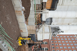 New Haven Courthouse GA 23 Phase 1. Project No: BI-JD-299<br /> Architect: JCJ Architecture  Contractor: Kronenberger Restoration<br /> James R Anderson Photography New Haven CT photog.com<br /> Date of Photograph: 20 January 2014  Vertical Image<br /> Camera View: Northeast, South Elevation Steps, East of center  No.: 27