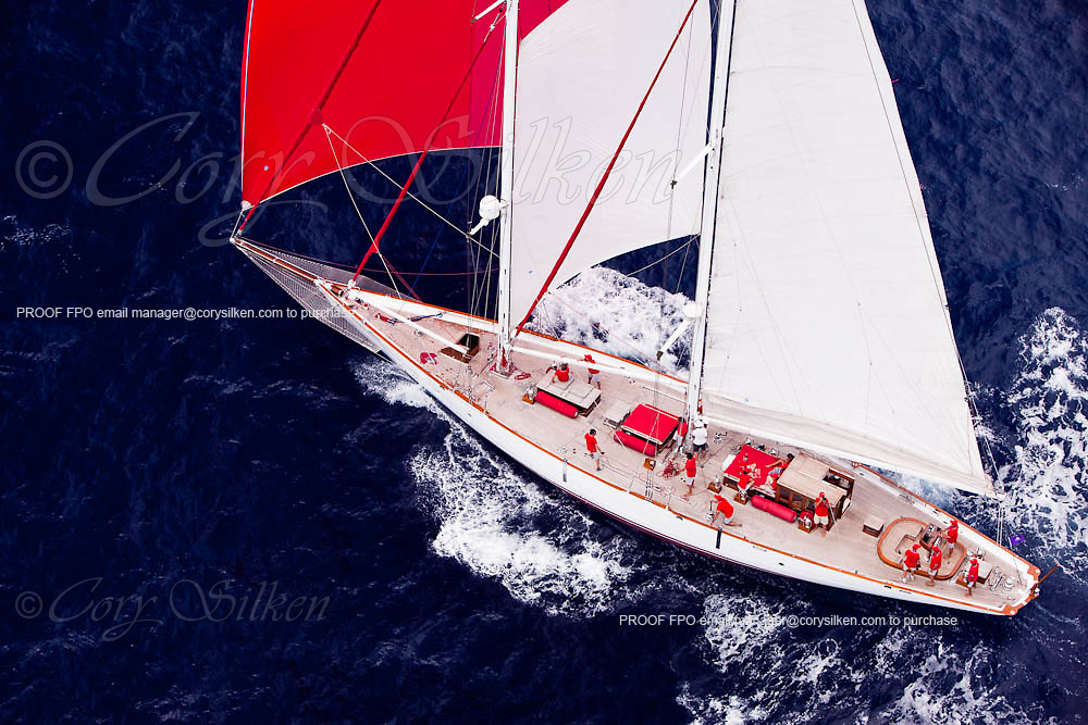 Atrevida sailing in the Butterfly Race at the 2011 Antigua Classic Yacht Regatta.