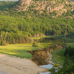 """Sand Beach and """"the Beehive"""" in Maine's Acadia National Park."""