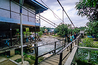 Indonesia, Sumatra. Bukit Lawang. A typical guesthouse on the far side of the river.