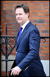 Deputy Prime Minister Nick Clegg leaves the Leveson Inquiry at the High Court, London, after giving evidence. Wednesday June 13, 2012.Photo by Andrew Parsons/i-Images..All Rights Reserved ©Andrew Parsons/i-Images .See Special Instructions