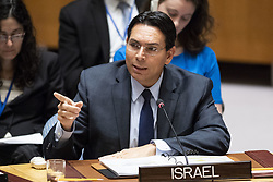 April 26, 2018 - New York, NY, U.S - Ambassador DANNY DANON, Permanent Representative of Israel to the United Nations, at the United Nations Security Council Meeting on Middle East conflicts. (Credit Image: © Michael Brochstein via ZUMA Wire)