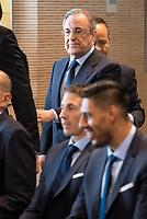 President of Real Madrid, Florentino Perez during the presentation of the sponsorship agreement between Real Madrid baloncesto and Universidad Europea at Santiago Bernabeu Stadium in Madrid, Spain September 06, 2017. (ALTERPHOTOS/Borja B.Hojas)